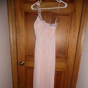 light pink one shoulder prom dress
